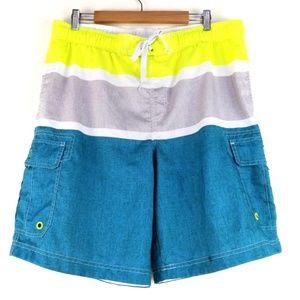 OP Blue Gray Yellow Striped Board Shorts Swimwear